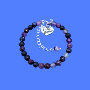 handmade grand mother charm bracelet, (purple agate) shades of purple or custom color