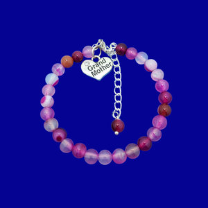 handmade grand mother charm bracelet, (rose line agate) shades of pink or custom color