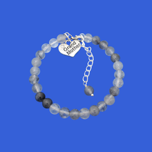 Load image into Gallery viewer, handmade grand mother charm bracelet, (ghost crystals) shades of grey or custom color