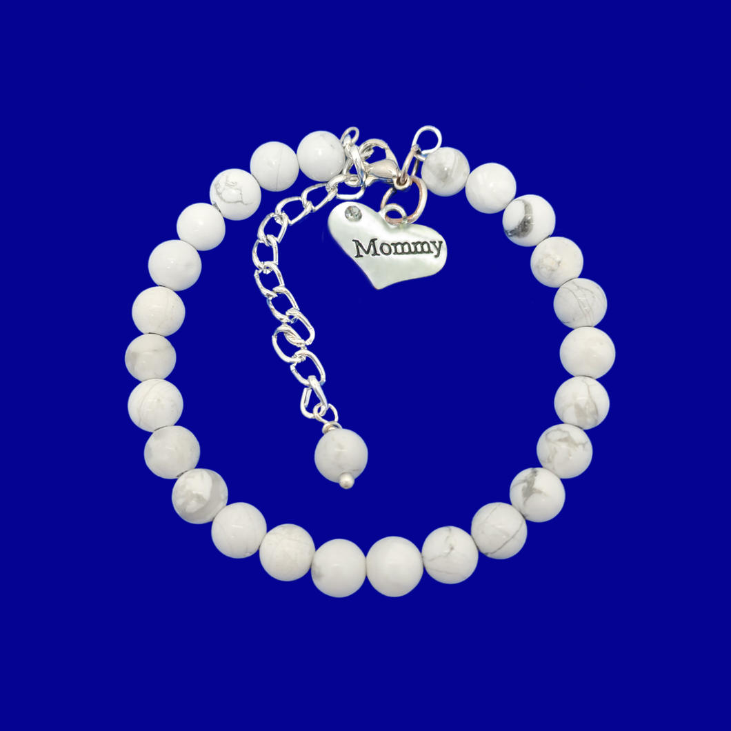 mommy natural gemstone charm bracelet, (white howlite) shades of grey and white or custom color
