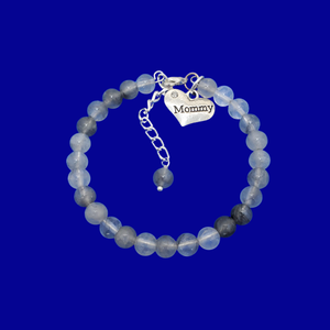 mommy natural gemstone charm bracelet, (ghost crystals) shades of grey or custom color
