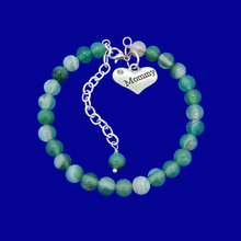 Load image into Gallery viewer, mommy natural gemstone charm bracelet, (green fantasy agate) shades of green or custom color