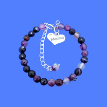 Load image into Gallery viewer, mommy natural gemstone charm bracelet, (purple agate) shades of purple or custom color