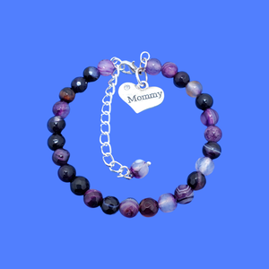 mommy natural gemstone charm bracelet, (purple agate) shades of purple or custom color