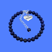 Load image into Gallery viewer, mommy natural gemstone charm bracelet, (lapis lazuli) dark blue or custom color