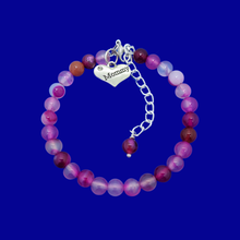 Load image into Gallery viewer, mommy natural gemstone charm bracelet, (rose line agate) shades of pink or custom color
