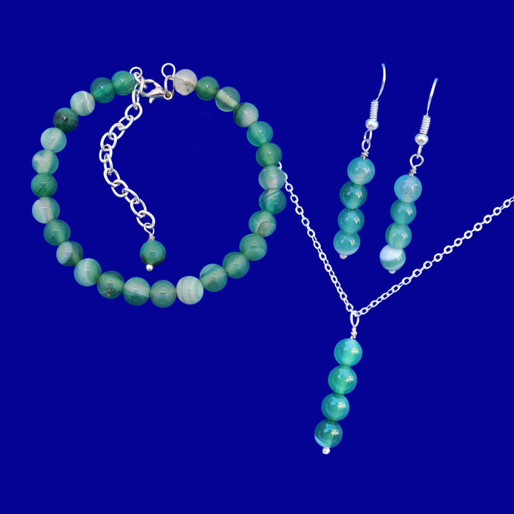 handmade green fantasy agate drop necklace accompanied by a bracelet and pair of earrings