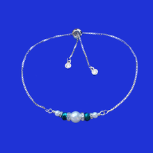 Load image into Gallery viewer, pearl crystal 18k rhodium adjustable bar bracelet, white and green or custom color