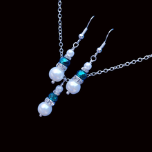 Load image into Gallery viewer, handmade pearl and crystal drop necklace accompanied by a matching pair of earrings