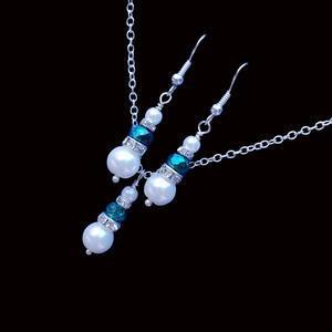 handmade pearl and crystal drop necklace accompanied by a matching pair of earrings