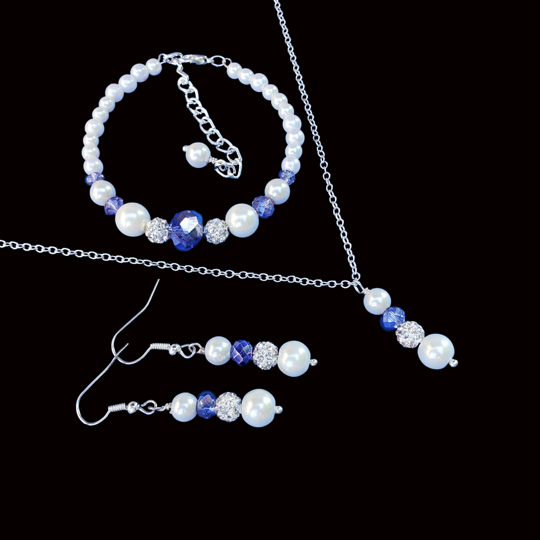 handmade pearl and crystal drop necklace accompanied by a bracelet and a pair of drop earrings