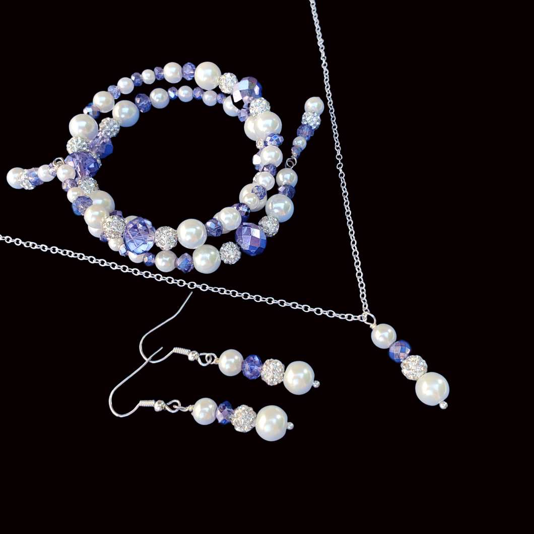 pearl crystal drop necklace accompanied by an expandable multi layer wrap bracelet and a pair of drop earrings, white and blue or custom color