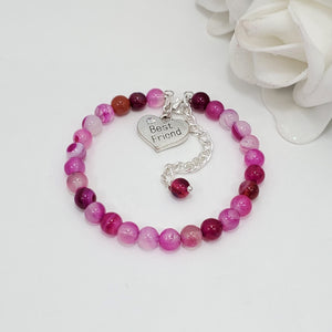 Friend Gift - Friend Bracelet - Best Friend Gift, best friend rose line agate charm bracelet, shades of pink or custom color