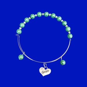 Gran Pearl Charm Expandable Bracelet, green or custom color