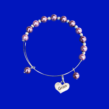 Load image into Gallery viewer, Gran Pearl Charm Expandable Bracelet, burgundy red or custom color