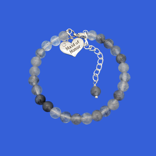 handmade maid of honor gemstone charm bracelet (ghost crystal) shades of grey or custom color