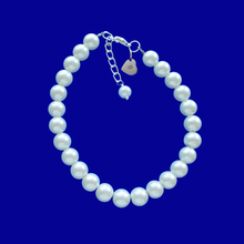 Load image into Gallery viewer, personalized monogram pearl charm bracelet, white or custom color