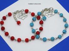 Load image into Gallery viewer, Set of 2 Sister of the Bride Groom Crystal Charm Bracelets