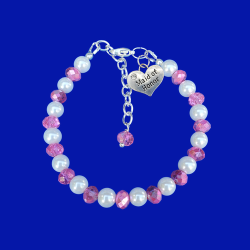 Maid of Honor Crystal Pearl Charm Bracelet, white and pink or custom color