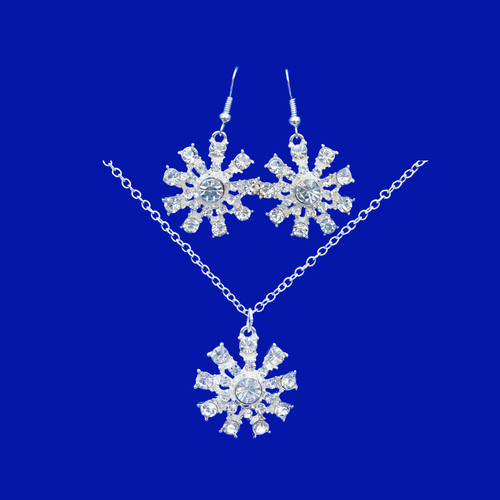 crystal snowflake drop necklace drop earring jewelry set, silver