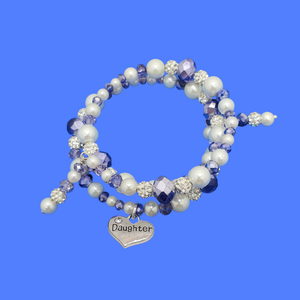 daughter pearl crystal expandable multi layer wrap charm bracelet, white and blue or custom color