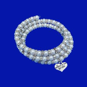 mother of the bride handmade pearl and crystal rhinestone expandable, multi-layer, wrap bracelet