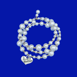 Grand Mother Expandable Multi-Layer Wrap Pearl Charm Bracelet