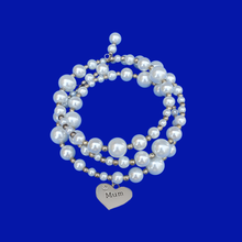 Load image into Gallery viewer, Mum Expandable Multi-Layer Wrap Pearl Charm Bracelet