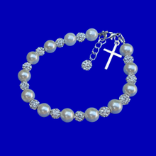 Load image into Gallery viewer, pearl crystal cross charm bracelet, silver and ivory or silver and custom color