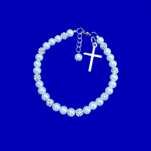 Load image into Gallery viewer, Bracelets - Religious Jewelry - Cross Bracelet - pearl crystal cross charm bracelet, white or custom color