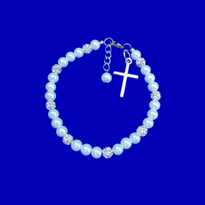 Bracelets - Religious Jewelry - Cross Bracelet - pearl crystal cross charm bracelet, white or custom color