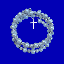 Load image into Gallery viewer, Pearl Crystal Multi Layer Expandable Wrap Cross Charm Bracelet, Ivory or custom color