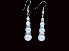 Load image into Gallery viewer, handmade pair of pearl and crystal drop earring