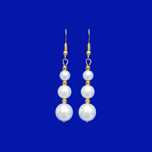 Load image into Gallery viewer, handmade gold accented pearl drop earrings, white and gold or custom color