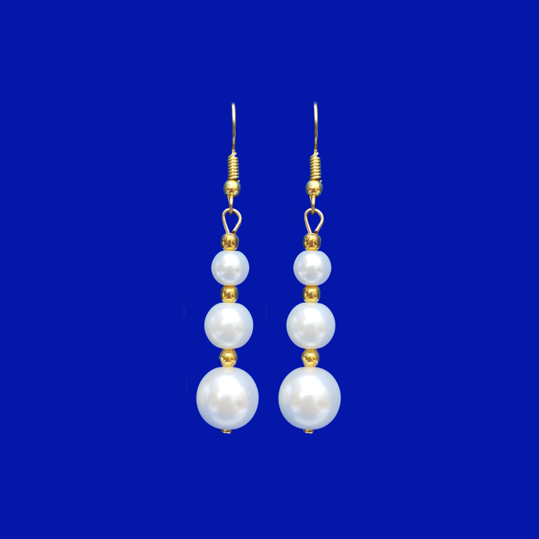 handmade gold accented pearl drop earrings, white and gold or custom color