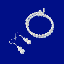 Load image into Gallery viewer, Bracelet Sets - Pearl Set - Fresh Water Pearl Jewelry Set - handmade fresh water pearl expandable, multi-layer, wrap bracelet accompanied by a pair of drop earrings