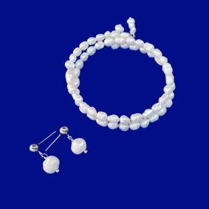 handmade fresh water pearl expandable, multi-layer, wrap bracelet accompanied by a pair stud earrings