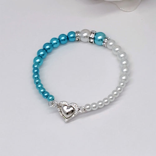 dual color pearl heart bracelet, white and aquamarine blue or custom colors