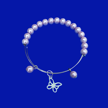 Load image into Gallery viewer, Summer Bracelets - Butterfly Bracelet - Bracelets, pearl and butterfly expandable charm bracelet