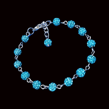 Load image into Gallery viewer, Crystal Bracelet - Bracelets - a handmade crystal bracelet, aquamarine blue or custom color