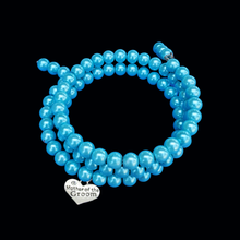 Load image into Gallery viewer, Mother of the Groom Expandable Multi-Layer Wrap Pearl Charm Bracelet, aquamarine blue or custom color