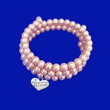 Load image into Gallery viewer, Mother of the Groom Expandable Multi-Layer Wrap Pearl Charm Bracelet, powder orange or custom color