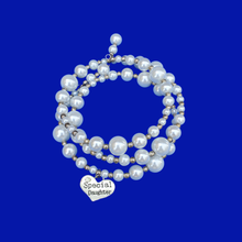 Load image into Gallery viewer, Special Daughter Silver Accented Multi-Layer Expandable Wrap Pearl Charm Bracelet