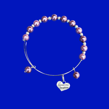 Load image into Gallery viewer, Special Daughter Expandable Pearl Charm Bracelet, burgundy red or custom color