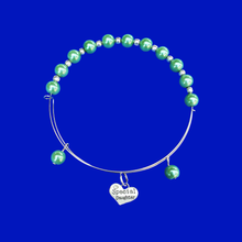 Load image into Gallery viewer, Special Daughter Expandable Pearl Charm Bracelet, green or custom color