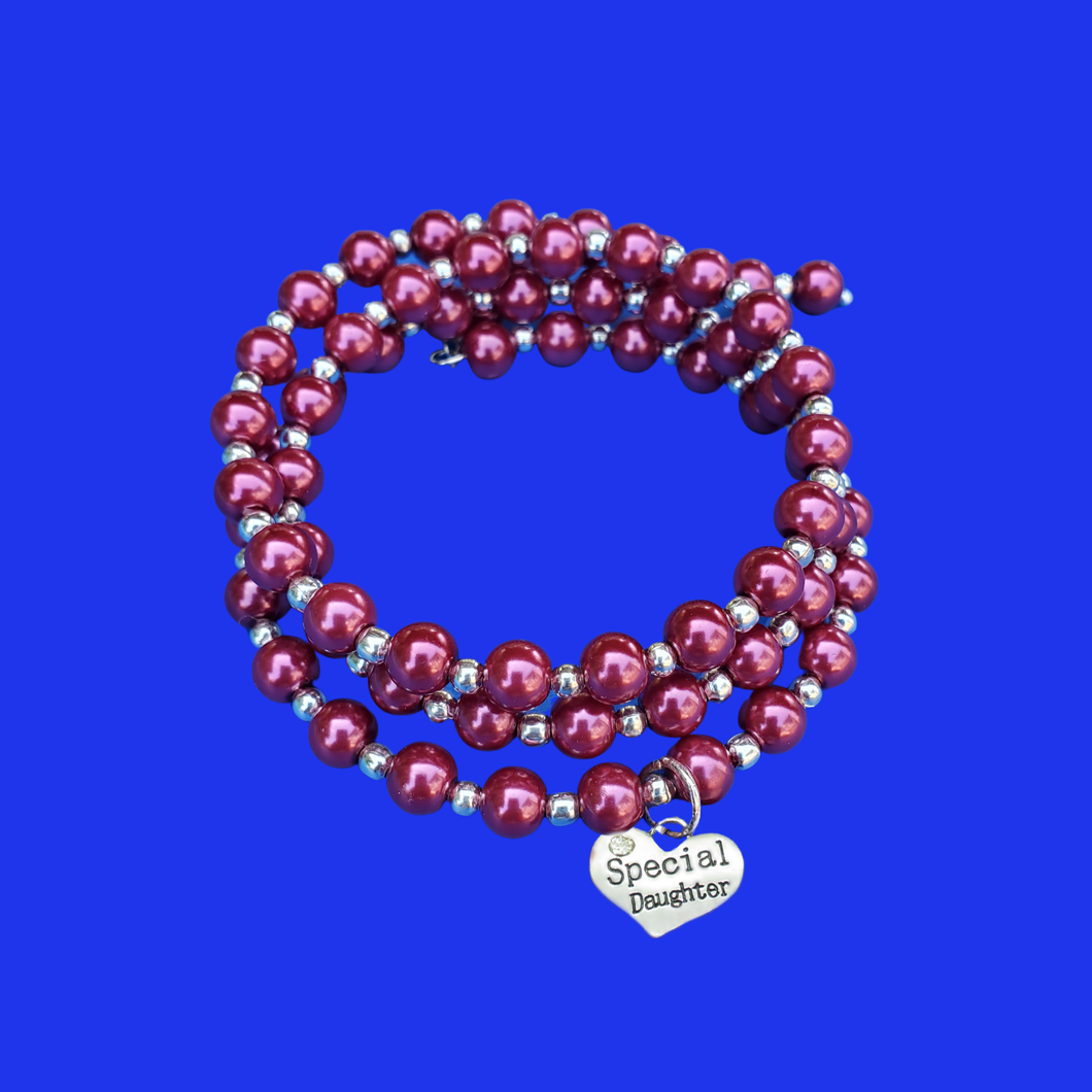special daughter silver accented pearl expandable multi layer wrap charm bracelet, bordeaux red or custom color