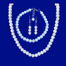 Load image into Gallery viewer, handmade pearl and crystal necklace with a 5 inch backdrop accompanied by a matching bracelet and drop earrings