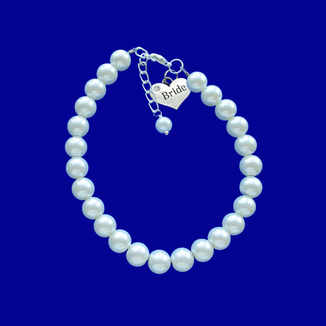 Bride Gift - Bride Bracelet - Bride Jewelry, handmade bride pearl charm bracelet, white or custom color