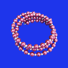 Load image into Gallery viewer, silver accented pearl expandable multi-layer wrap bracelet, bordeaux red or custom color