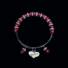 Load image into Gallery viewer, nana pearl crystal expandable charm bracelet, bordeaux red or custom color